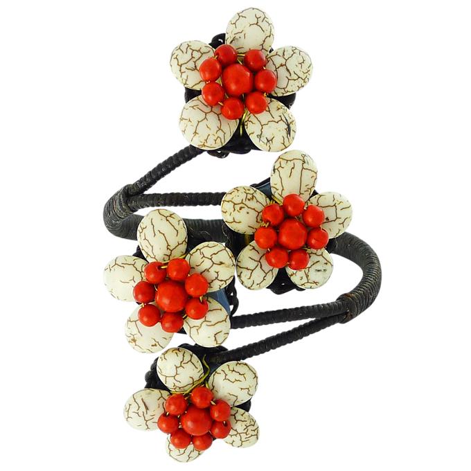 Браслет Цветы из натуральных камней — бирюза, коралл. Филиппины оригинал (BR-010)