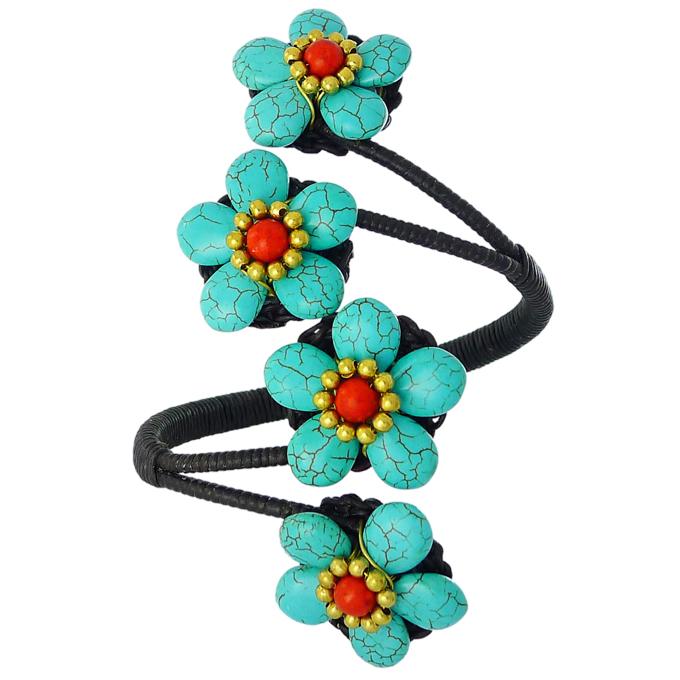 Браслет Цветочная Сказка из натуральных камней — бирюза, коралл. Филиппины оригинал (BR-014)