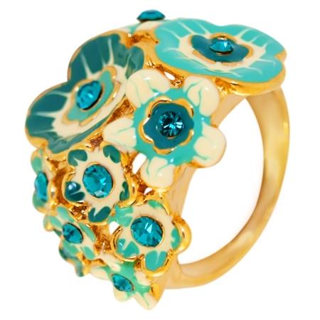 Кольцо цветочная полянка под золото, с кристаллами Swarovski . Италия. Оригинал. (KO-002)