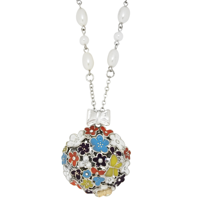 Кулон Цветочная полянка под серебро, с жемчугом и Swarovski. Оригинал США (K-009)