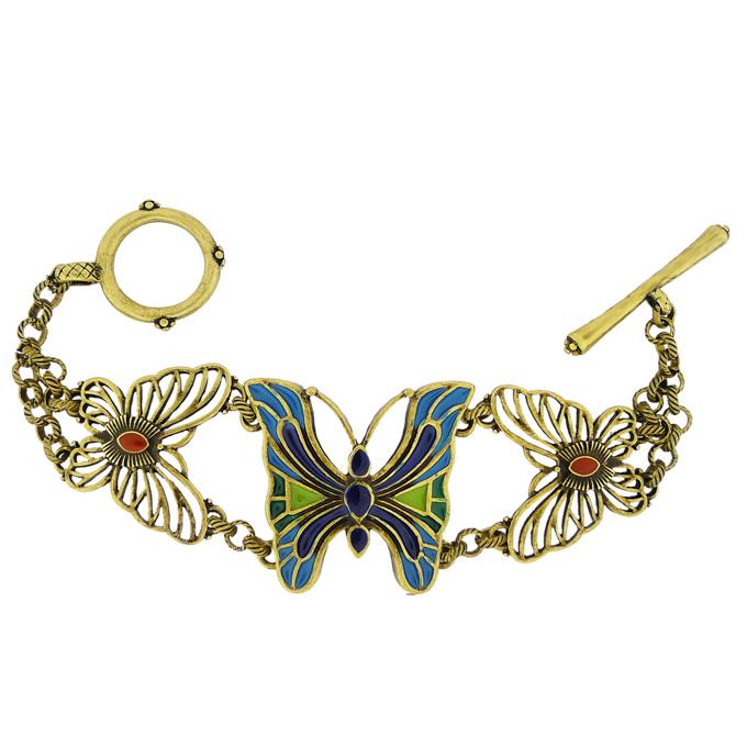 Винтажный браслет под бронзу Бабочки. Оригинал США (BR-002)