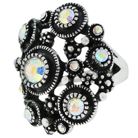 Кольцо Шик под серебро с кристаллами Swarovski. Оригинал США (KО-004).