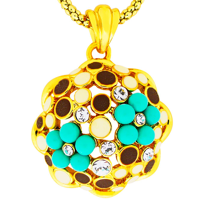Кулон Цветы под золото с кристаллами Сваровски. Оригинал Германия (K-027)