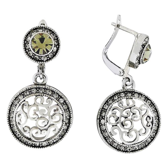 Серьги Амулет под серебро с кристаллами Сваровски. Оригинал США (S-010)