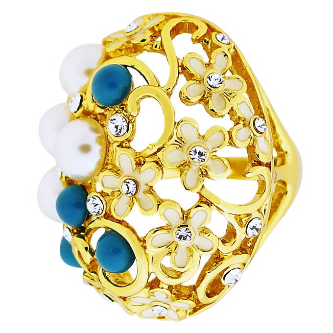 Кольцо Цветочки под золото с жемчугом, Сваровски. Италия оригинал (KО-007).