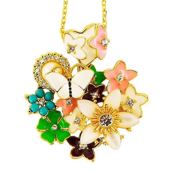 Кулон Бабочка в цветах под золото, с натуральным перламутром, жемчугом и кристаллами Swarovski. Германия оригинал (K-019)