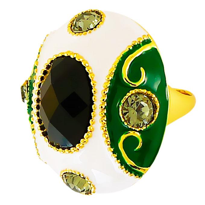 Кольцо Императрица под золото с кристаллами Swarovski. Италия оригинал (KО-005).