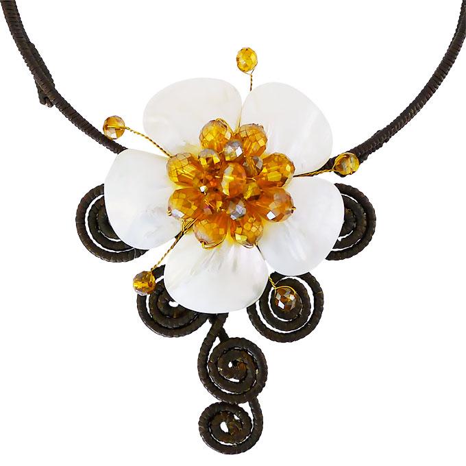 Колье Цветок из натуральных камней — перламутр, циркон. Филиппины оригинал (B-006)