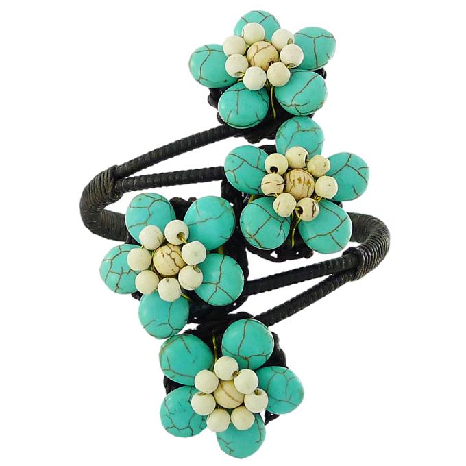 Браслет Цветы из натурального камня — бирюза. Филиппины оригинал (BR-011)