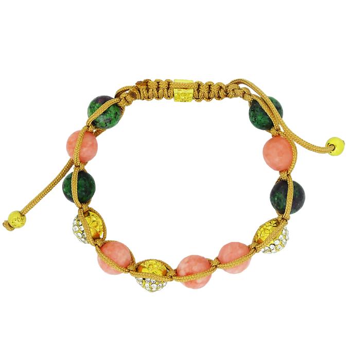 Браслет Шамбала под золото с змеевиком, кварцем, кристаллами Swarovski. США оригинал (BR-044)