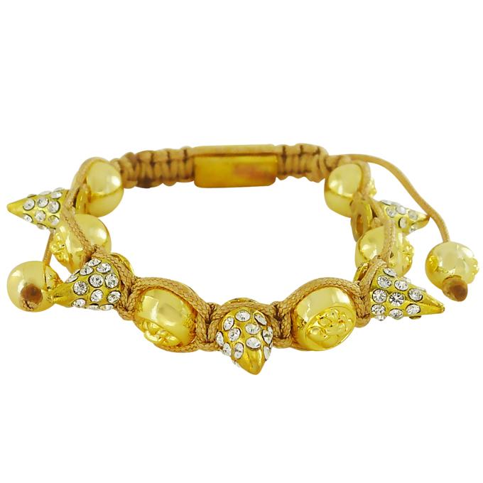 Браслет Шамбала под золото с шипами и кристаллами Swarovski. США оригинал (BR-033)