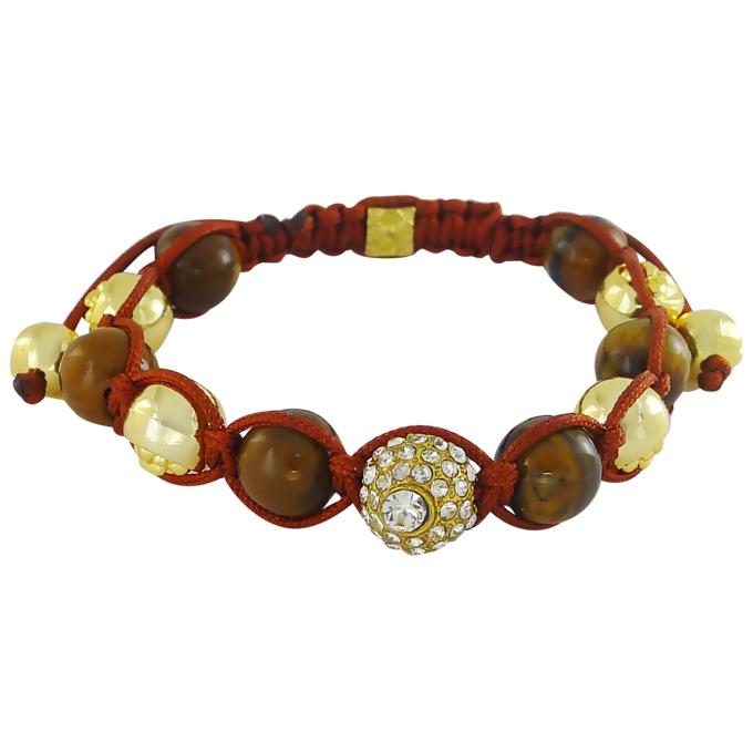 Браслет Шамбала под золото, с тигровым глазом и кристаллами Swarovski. США оригинал (BR-032)
