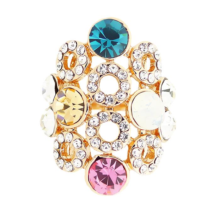 Кольцо под золото с кристаллами Сваровски. Италия оригинал (KО-036)
