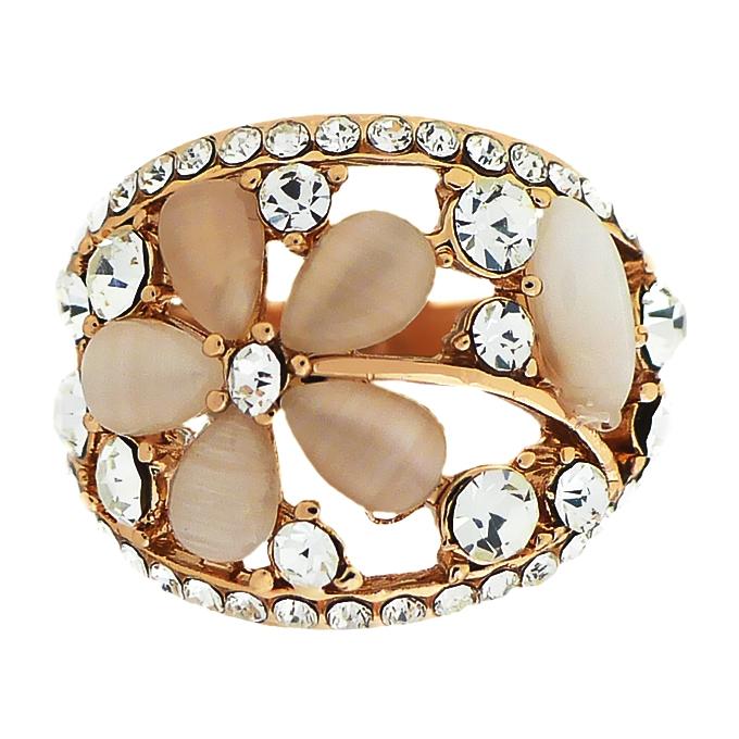 Кольцо под золото с кошачьим глазом, кристаллами Сваровски. Германия оригинал (KО-023)