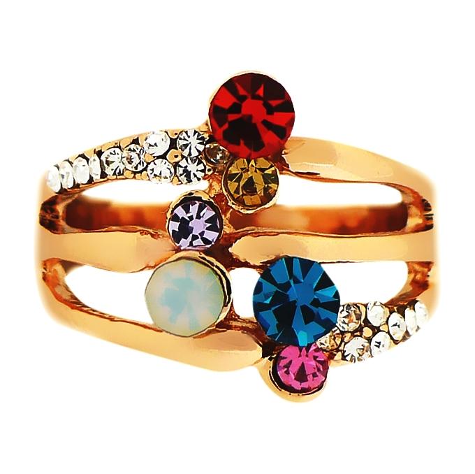 Кольцо под золото с разноцветными кристаллами Swarovski. США оригинал (KО-022)