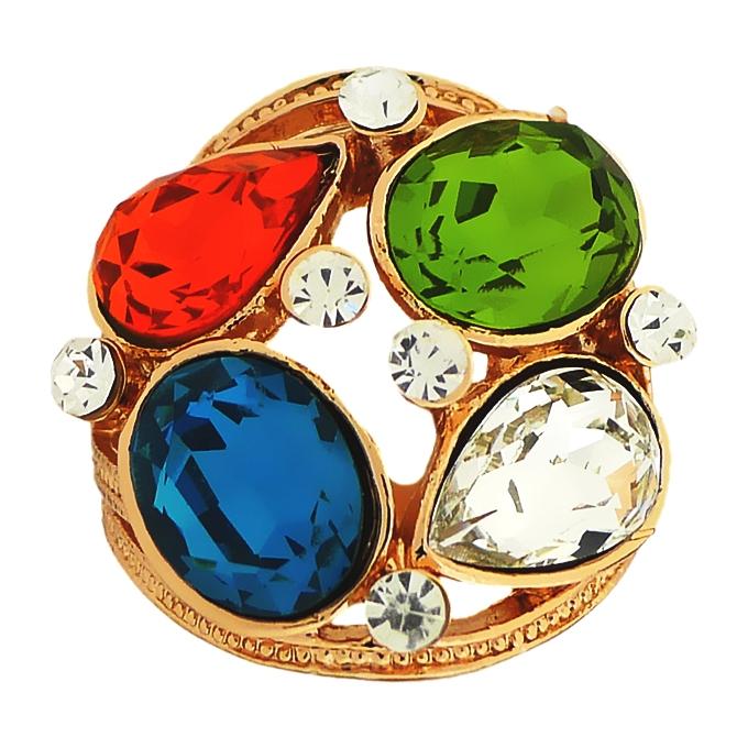 Кольцо с разноцветными кристаллами Swarovski. Италия оригинал. (KО-019)