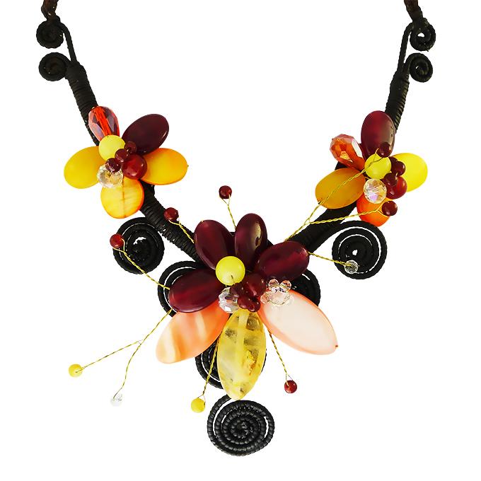 Колье Цветы с натуральными камнями — кварц, перламутр, циркон. Филиппины оригинал (B-013)