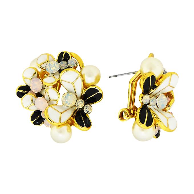 Серьги Бабочки под золото с жемчугом и кристаллами Сваровски. Германия оригинал (S-021)