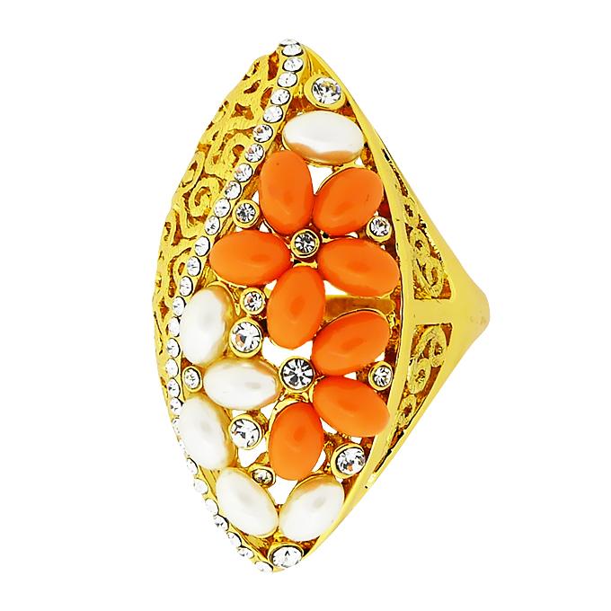 Кольцо под золото с жемчугом и кристаллами Сваровски. Германия оригинал (KО-014).
