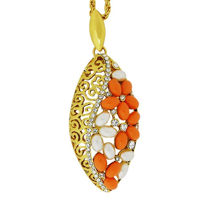 Кулон под золото с жемчугом и кристаллами Сваровски. Германия оригинал (K-034)