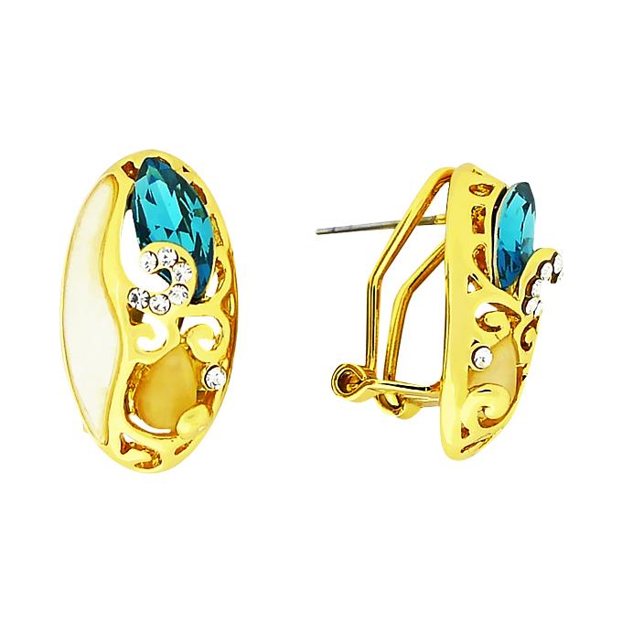 Серьги под золото с кристаллами Сваровски и натуральными камнями — перламутром, кошачьим глазом. Гонконг оригинал (S-016)