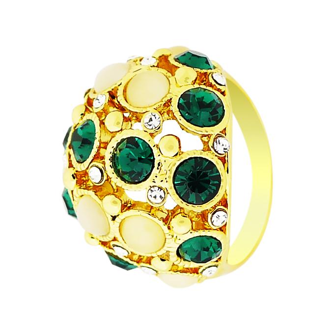Кольцо под золото с кошачьим глазом и кристаллами Сваровски. Германия оригинал (KО-013).