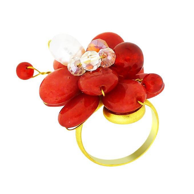 Кольцо с натуральными камнями — сердолик, циркон, жемчуг. Филиппины оригинал (KО-012).