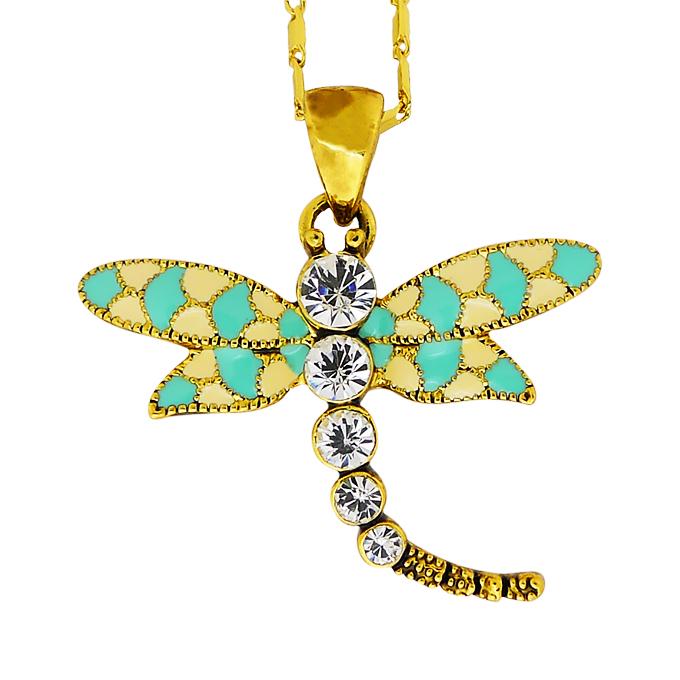 Кулон Стрекоза под золото с кристаллами Сваровски. Оригинал Германия (K-031)