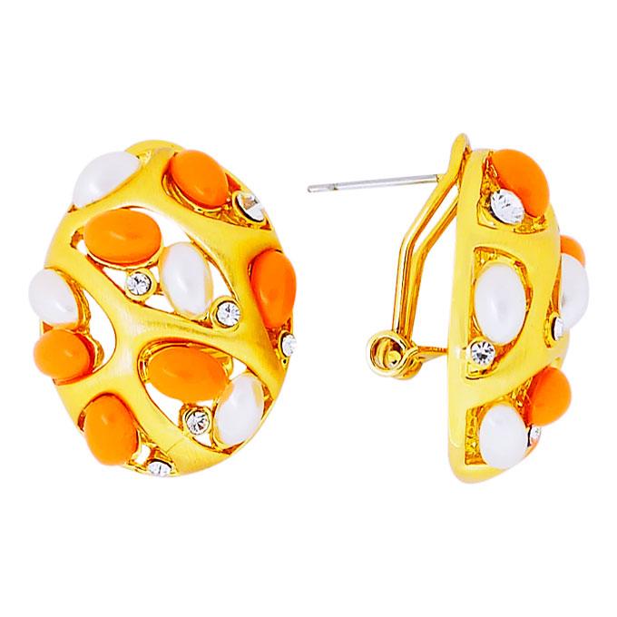 Серьги Цветы под золото с кристаллами Сваровски, жемчугом. Оригинал Германия (S-012)