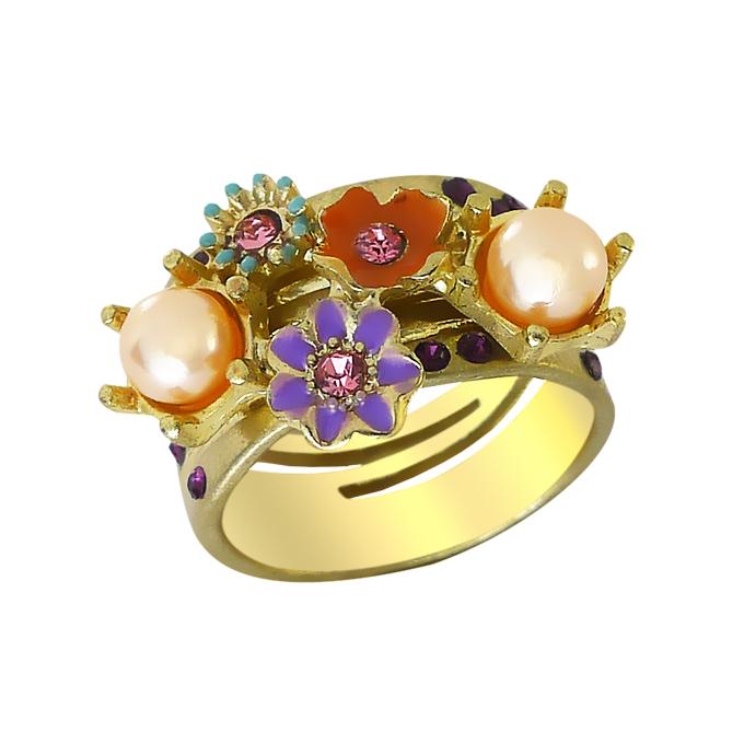 Кольцо Цветочки под золото с кристаллами Сваровски, жемчугом. Германия оригинал (KО-039)