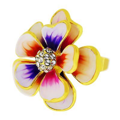Кольцо Цветок под золото с кристаллами Сваровски. (KО-017)