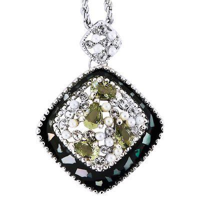 Кулон Шарм под серебро с перламутром, жемчугом и кристаллами Swarovski. (K-021)