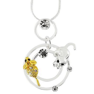 Кулон Кошки-Мышки под серебро-золото с кристаллами Swarovski. (K-020)